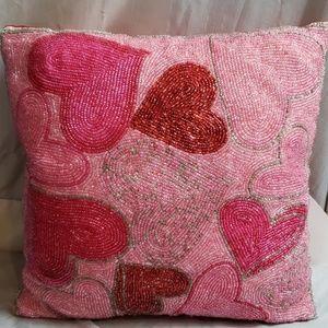Pier 1 beaded heart decor pillow